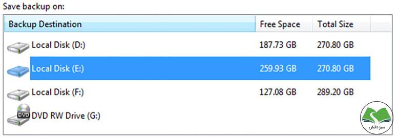 مرحله دوم: انتخاب محل ذخیرهسازی نسخه پشتیبان