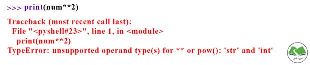 خطای عدم تطابق نوع دادهای متغیرها