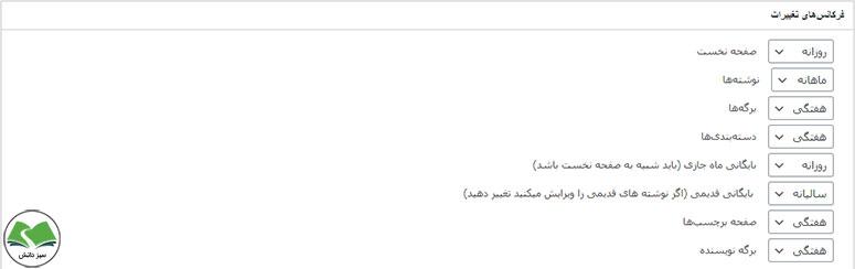 تنظیمات فرکانسهای تغییر در افزونه Google XML