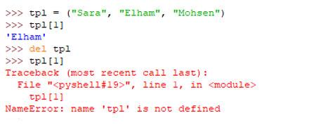 حذف تاپل در پایتون با del