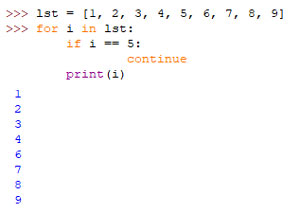 مثال دستور continue در حلقه پایتون