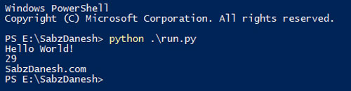 نتیجه اجرای کدها در فایل run.py