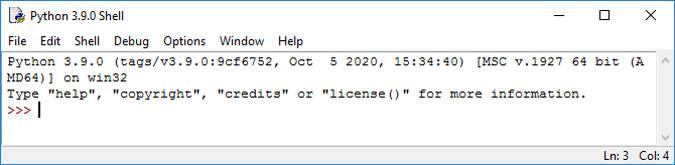 محیط اولیه IDLE برای اجرای کد پایتون