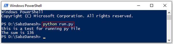 نمونه اجرای کردن فرمت .py در خط فرمان