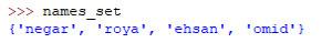 نتیجه چاپ names_set برای تکرار اعضا