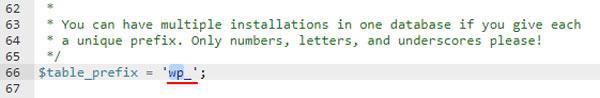 خط مربوط به پیشوند جدول وردپرس در wp-config