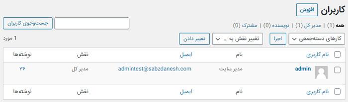 لیست اولیه و نمایش اولین کاربر در سایت