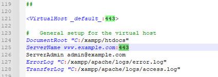 کد تغییر پورت ssl در httpd-ssl.conf