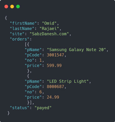 نمونه ساختار کد JSON